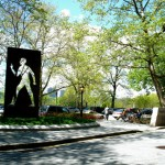 "The Invisible Man, honoring author Ralph Ellison.  Sculptor, Elizabeth Catlett.  Location, Riverside Drive and 150th Street, NYC. Rufus composed ""Quiet Pride"" using this sculpture for inspiration."